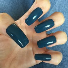 Set Of 20 Dusty Blue Squoval Glue On Nails | eBay