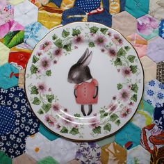 "Small vintage plate with a transfer of ""shy bunny"", by thestorybookrabbit on Etsy"
