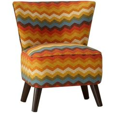 Dot & Bo Ziggy Accent Chair - Yellow & Orange ($353) ❤ liked on Polyvore featuring home, furniture, chairs, accent chairs, chevron chair, yellow chevron chair, orange furniture, yellow accent chair and yellow chair