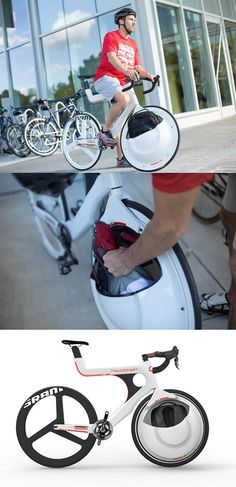Transport bike with front wheel storage compartment