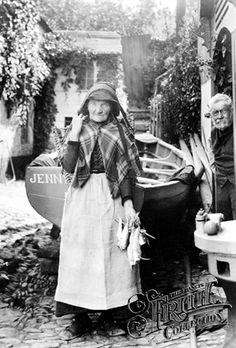 Old Fisherwoman 1906, Newlyn, Cornwall, England. The fishing industry often meant close links between the coastal communities of Devon and Cornwall.