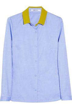 Carven   Cotton-poplin and silk-crepe shirt