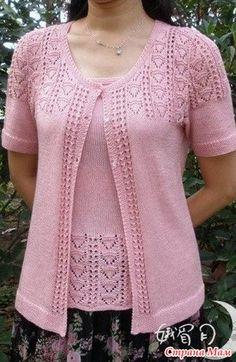 Free knitting pattern for Little Peacock Cardigan Sweater Knitting Patterns, Knit Patterns, Knitting Socks, Baby Knitting, Free Knitting, Crochet Blouse, Knit Crochet, Rosa T Shirt, Blouses Roses