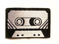Retro Cassette / Iron-on Patches / Black & White / Old School / Appliqué / Embroidery / DIY Denim Jacket by Tattooit on Etsy https://www.etsy.com/listing/123609346/retro-cassette-iron-on-patches-black