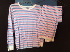 Joe Boxer Pink Blue Stripe Long John & Top Underwear Size Large Cotton Blend #JoeBoxer #TopBottomSet