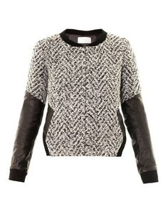 Leather sleeve boucle jacket | Thakoon Addition | MATCHESFASHI... -Nice combo , it would be better with poly, not leader!