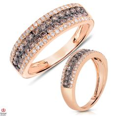 Ebay NissoniJewelry presents - Ladies' 1 1/10CT Brown and White Diamond Anniversary Band 14K Rose Gold    Model Number:ABV5769KBP45523    http://www.ebay.com/itm/Ladies-1-1-10CT-Brown-and-White-Diamond-Anniversary-Band-14K-Rose-Gold/221630378262