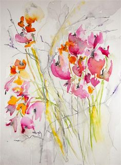 Original art for sale at UGallery.com | Wildflowers by Karin Johannesson | $275 | watercolor painting | 14' h x 11' w | http://www.ugallery.com/watercolor-painting-wildflowers