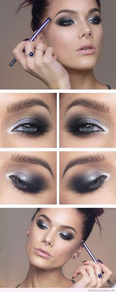 Linda Hallberg silver and black eye makeup idea