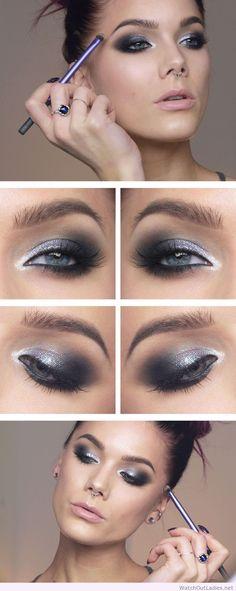 Linda Hallberg silver and black eye makeup idea
