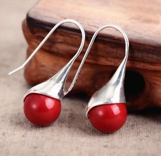 f03a74a4724b  7.55 - Fashion Women s Natural Red Coral 925 Sterling Silver Hook Dangle  Earrings  ebay  Fashion