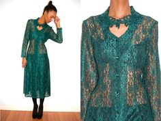 Vtg Green Lace Embroidered Cut Out Chest LS Dress by LuluTresors, $54.99