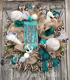 Summer Wreath, Nautical Wreath, Beach Wreath, Everyday Wreath, Burlap Wreath, Rustic Wreath Down By The Sea.....let your door set sail with this XL Nautical Wreath! With colors of blue and burlap this wreath has major appeal! Teal, Blue & White accents add to the charm & sophistication.
