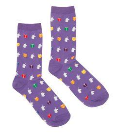 Gumball Poodle Karma Crew Socks Purple Stripes FREE POSTAGE Fun Funky ~