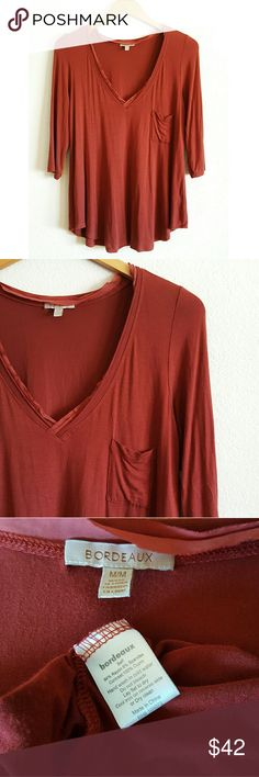 Anthropologie red chiffon v-neck pocket tee Bordeaux for Anthropologie burnt red chiffon trim v-neck pocket tee. - size medium - 3/4 sleeves - 94% rayon, 6% spandex Anthropologie Tops