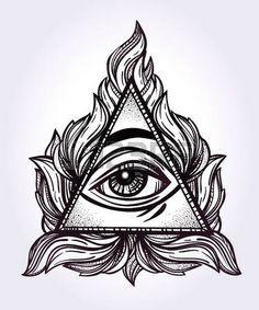 tatouage religieux: Tout voir le symbole de la pyramide de l'?il. Nouvel ordre mondial. Hand-drawn Eye of Providence. Alchimie, la religion, la spiritualité, l'occultisme, l'art du tatouage. Isolated illustration vectorielle. Théorie du complot. Illustration