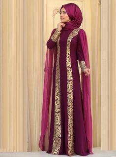 Robe de soirée Rabia - Violet foncé - Zehrace