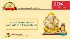 Make this #GaneshChaturthi  special with authentic Eco-friendly Ganesh idols, pooja kits, pooja items and Visarjan Service.  Get 20% discount for orders on or before 1st Sept.  Hurry Up! Limited Offer!