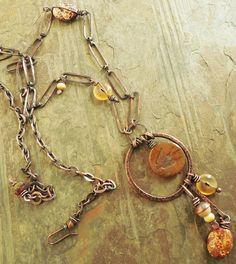 Scarlet Bird Pendant in Copper por lunedesigns en Etsy