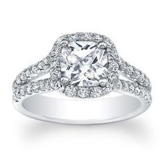 (setting price) Floating Halo Diamond Engaement Ring Split Shank in 14k White Gold (.67CT) Metal : 14k White Gold CAN BE SET WITH If there is a size or shape you are interested in that is not listed b