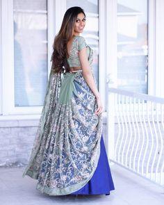 Ghagra Saree, Half Saree Lehenga, Saree Gown, Lehenga Blouse, Saree Draping Styles, Saree Styles, Sari Design, Stylish Sarees, Indian Wedding Outfits
