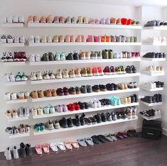 Jo shoe shelves in walk in closet Shoe Wall, Shoe Room, Room Closet, Master Closet, Sneaker Storage, Shoe Storage, Sneaker Regal, My New Room, My Room