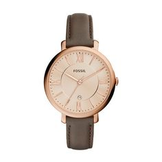 Fossil Watch - Jacqueline Watch Leather Rose Dark Brown - in brown -... (525 RON) ❤ liked on Polyvore featuring jewelry, watches, brown, vintage wristwatches, rose watches, waterproof wrist watch, analog wrist watch and leather wrist watch