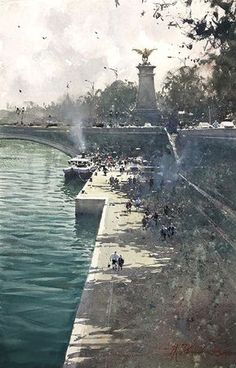 Watercolor Paintings For Beginners, Watercolor Pictures, Watercolor Landscape Paintings, Watercolor Artists, Joseph Zbukvic, Watercolor Architecture, Boat Painting, Art Pictures, Art Pics