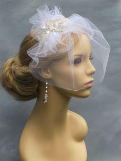 Bridal  Blusher netting Veil with crystal by svitlanasbridalveils, $59.95