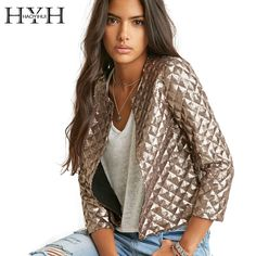 Hyh haoyihui 2016ブランドの新しい春スタイルヴォーグ菱形女性ゴールドスパンコールジャケット三quaterのスリーブファッションコートoutwears