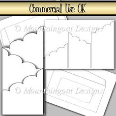 Scalloped Edge Cascade Card Commercial Use OK. - £3.50 : Instant Card Making Downloads