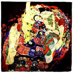 "100% Luxury Square Silk Scarf - Gustav Klimt ""Virgins"" - Black"