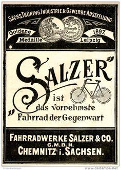 Original-Werbung/ Anzeige 1897 - SALZER FAHRRAD - CHEMNITZ - ca. 80 x 120 mm