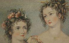 """""""Drei Grazien"""" - Bildnis dreier Damen Mischtechnik Leinwand England um 1830 in Antiquitäten & Kunst, Malerei, Gemälde 1800-1899   eBay"""
