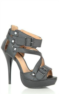 Open Toe High Heel with Buckled Straps