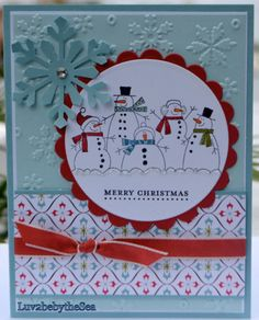 Merry Christmas Happy Snowmen Card!  Love snowmen!!  Stampin' Up!