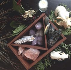 Magic box with stones bones and other witchy stuff Natural Crystals, Stones And Crystals, Healing Crystals, Crystals Minerals, Healing Stones, Wicca, Witchcraft Herbs, Crystal Magic, Crystal Box