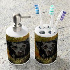 Black Lab Toothbrush Holder/Soap Dispenser Set