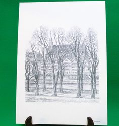 1977 Print Of Pen Sketch By Tübingen Artist Georg Salzmann, Neckarfront - $5.95