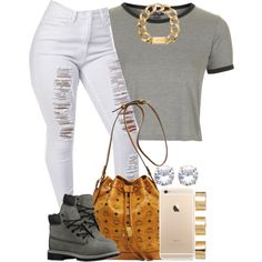 Gray x White by livelifefreelyy on Polyvore featuring Topshop, MCM, Michael Kors, ASOS and Timberland
