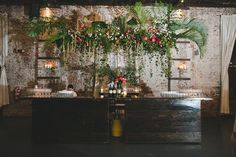 For this November wedding we brought tropical elements and bright coral pops to the 501 space and Green Building in Brooklyn. Loft Wedding, Wedding Wall, Wedding Stuff, Floral Wedding, Fall Wedding, Wedding Flowers, Garden Wedding, Flower Decorations, Wedding Decorations