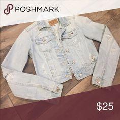 Hollister distresses jean jacket XS Used a couple times distressed jean jacket size XS Hollister Jackets & Coats Jean Jackets