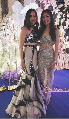 Dress on the left Indian Bridal Outfits, Indian Designer Outfits, Designer Dresses, Kurti Designs Party Wear, Lehenga Designs, Stylish Dresses, Fashion Dresses, Indian Gowns Dresses, Dress Indian Style