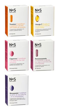 Packaging system for Cinfa's N+S Dietary Supploments. Each item is color coded, clearly marked and showed a photo of the supplement pill. Drug Packaging, Medical Packaging, Cosmetic Packaging, Beauty Packaging, Brand Packaging, Simple Packaging, Web Design, Label Design, Branding Design