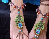 BOHEMIAN barefoot sandals PEACOCK FEATHER for many occasions made to order festival hippie hula hooping belly dance yoga