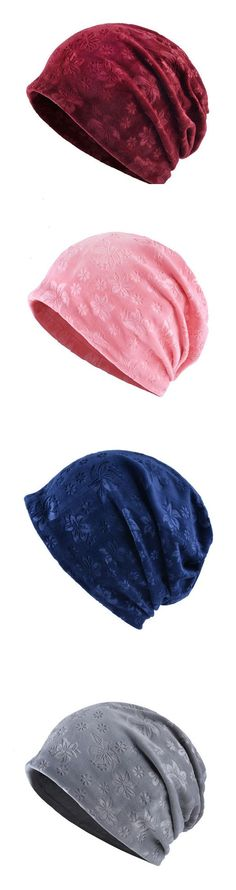 Women Windproof Warm Embossed Beanie Hats Outdoor For Both Hats And Scarf Use Multi-functional Hats