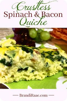 Crustless Spinach and Bacon Quiche - Powered by @ultimaterecipe