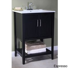 @Overstock.com - Ceramic-top 24-inch Single Sink Bathroom Vanity - Add a modern touch to your bathroom with this elegant single-sink vanity. This darling vanity features a storage shelf concealed by gorgeous soft-closing double doors, metal hardware, and an open shelf for added storage space.  http://www.overstock.com/Home-Garden/Ceramic-top-24-inch-Single-Sink-Bathroom-Vanity/8306164/product.html?CID=214117 $499.00
