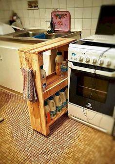 Kitchen Storage Solutions, Diy Kitchen Storage, Diy Kitchen Decor, Kitchen Pantry, Kitchen Stuff, Kitchen Cart, Kitchen Appliances, Diy Pallet Kitchen Ideas, Pallet Pantry