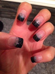 Back with teal sparkles gel nails